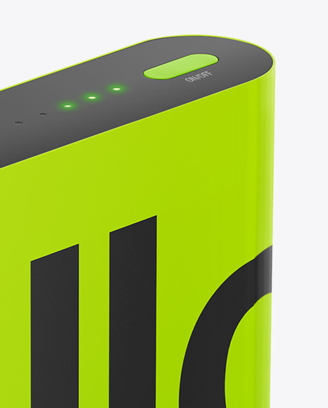 Glossy Power Bank Mockup - Halfside View