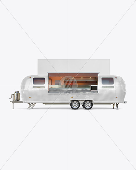 Opened Food Trailer w/ Signboard Mockup - Side View