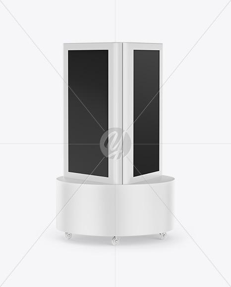 Freestanding Kiosk Mockup - Half Side View