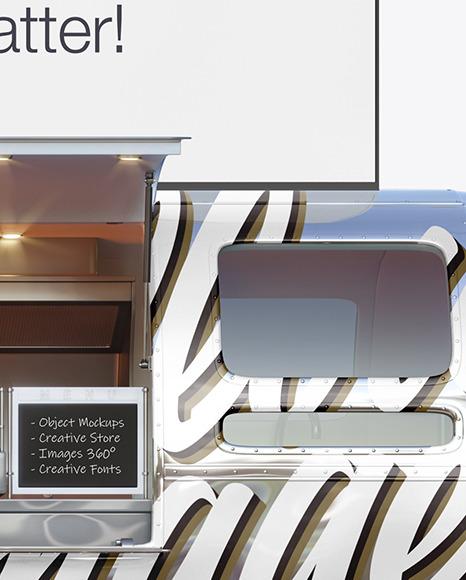 Opened Metallic Food Trailer w/ Signboard Mockup - Side View
