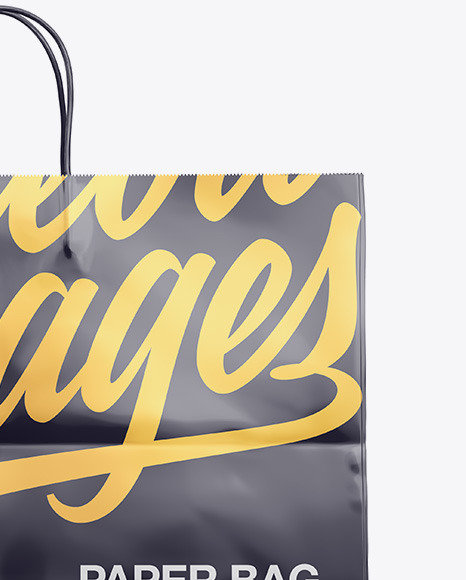 Glossy Shopping Bag with Rope Handle Mockup - Front View