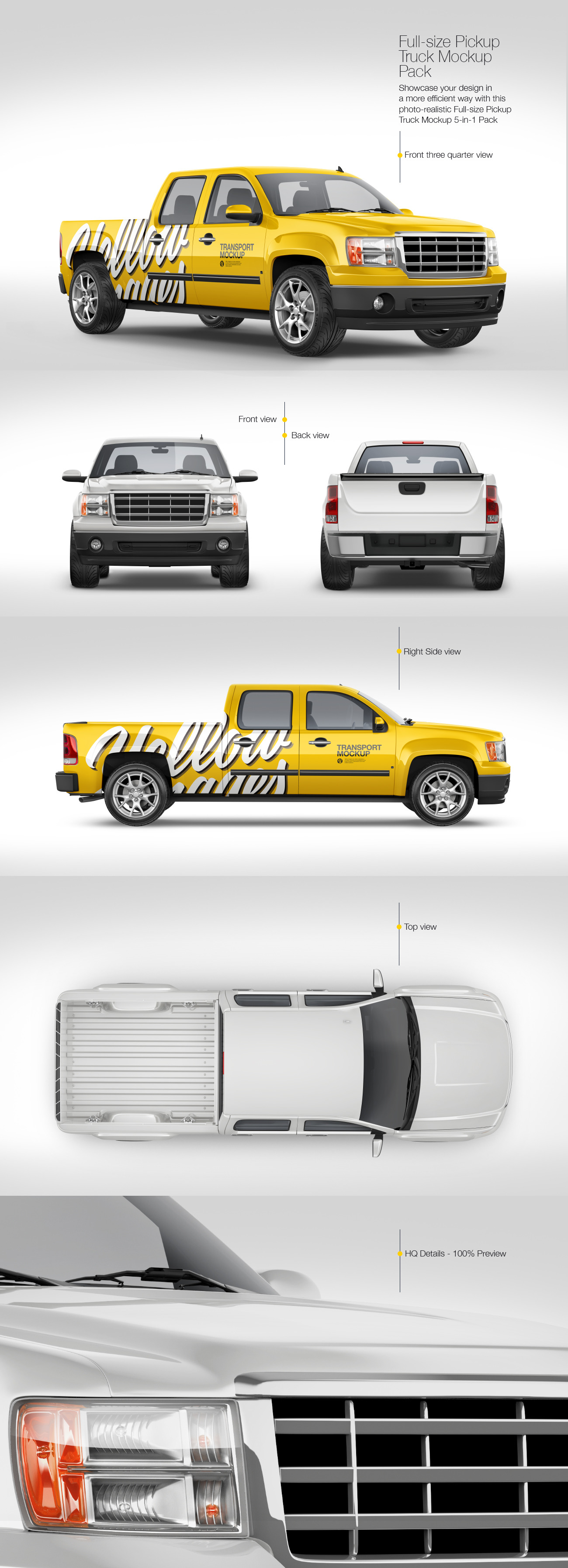 Full-Size Pickup Truck Mockup Pack