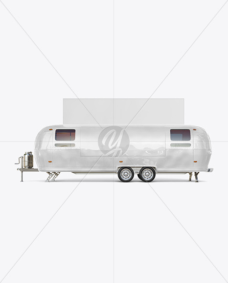 Food Trailer w/ Signboard Mockup - Side View - Yellowimages Mockups