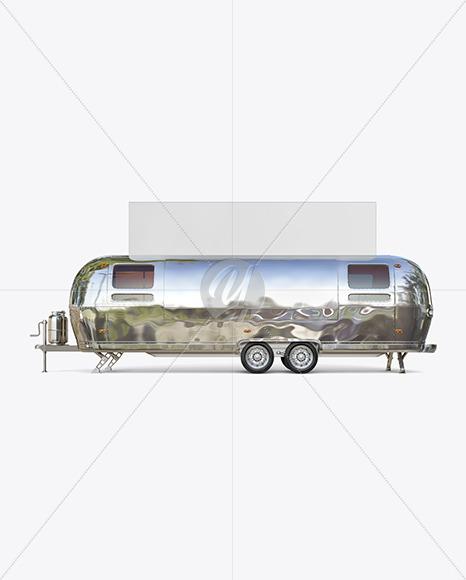 Metallic Food Trailer w/ Signboard Mockup - Side View