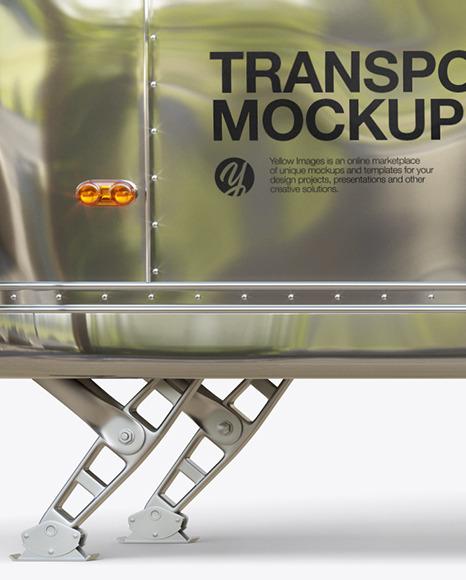 Metallic Food Trailer Mockup - Side View
