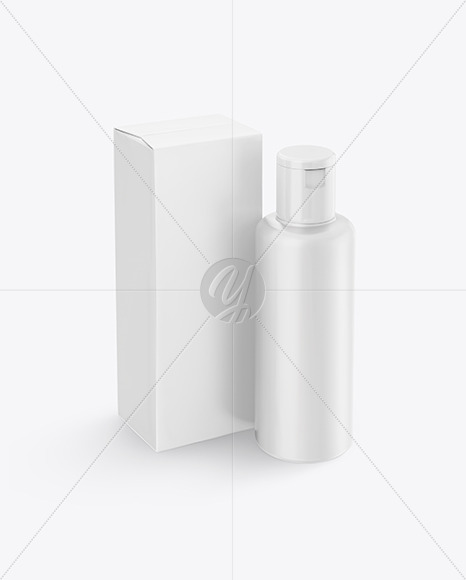 Plastic Cosmetic Bottle with Box Mockup