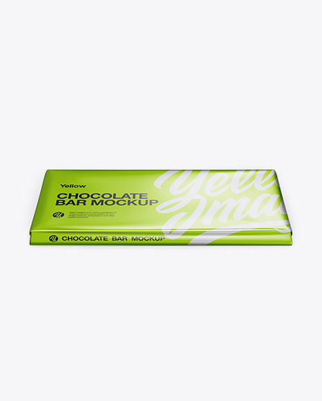 Glossy Metallic Chocolate Bar Mockup - Front View (High Angle Shot)