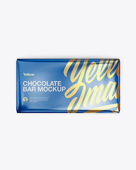 Glossy Metallic Chocolate Bar Mockup - Top View