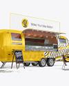 Opened Food Trailer w/ Signboard Mockup - Half Side View