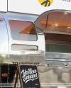 Opened Metallic Food Trailer w/ Signboard Mockup - Half Side View