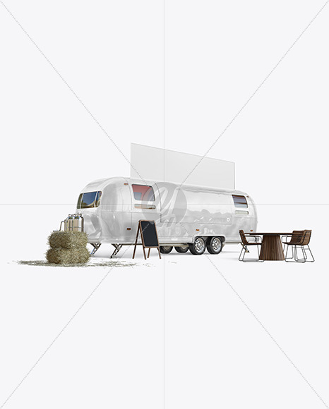 Food Trailer w/ Signboard Mockup - Half Side View - Yellowimages Mockups