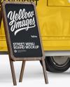 Food Trailer w/ Signboard Mockup - Half Side View