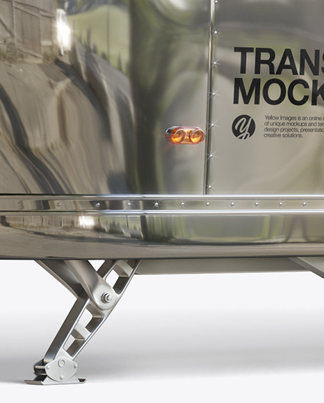 Metallic Food Trailer w/ Signboard Mockup - Half Side View