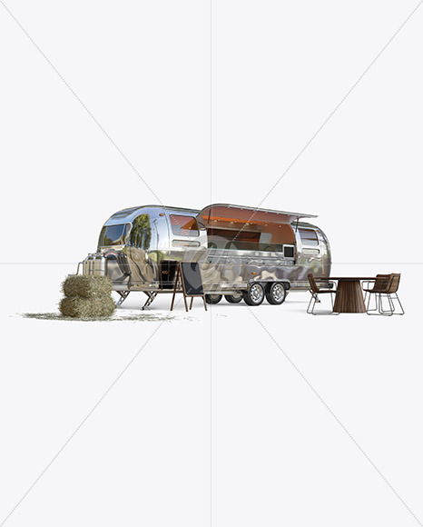 Opened Metallic Food Trailer Mockup - Half Side View