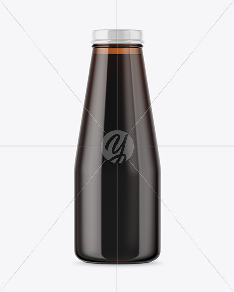Amber Glass Bottle With Cold Brew Coffee Mockup