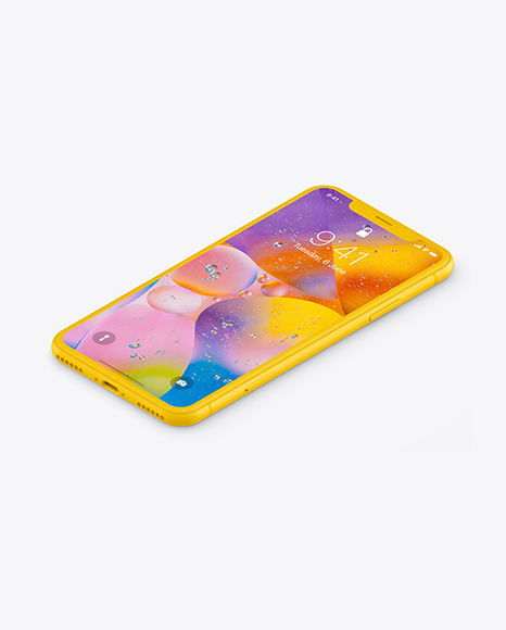 iPhone XR Clay Isometric Left Mockup