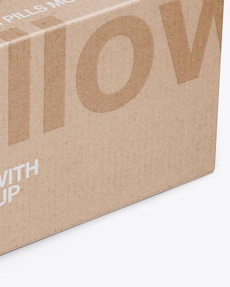 Kraft Matte Pills Box Mockup - Halfside View (High-Angle Shot)
