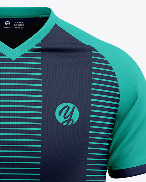 Men's V-Neck Soccer Jersey Mockup - Front View Of Soccer T-Shirt