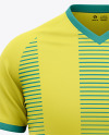 Men's V-Neck Soccer Jersey Mockup - Front View Of Soccer T-Shirt