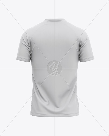 Men's V-Neck Soccer Jersey Mockup - Back View Of Soccer T-Shirt
