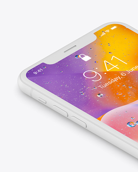 iPhone XR Clay Isometric Right Mockup