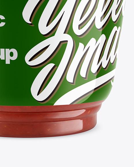 Plastic Cup w/ Sauce Mockup