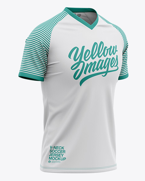 Men's V-Neck Soccer Jersey Mockup - Front Half Side View Of Soccer T-Shirt