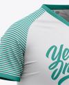 Men's V-Neck Soccer Jersey Mockup - Front Half Side View