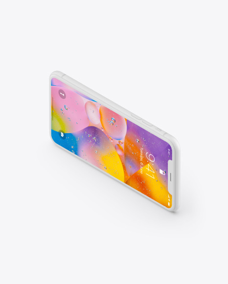 iPhone XR Clay Isometric Landscape Right Mockup
