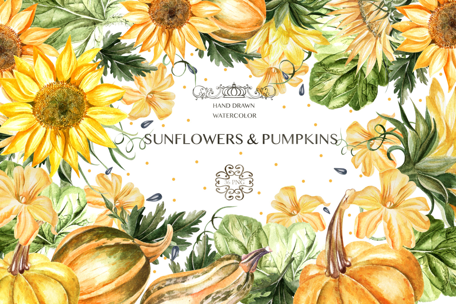 Watercolor Sunflower & Pumpkins