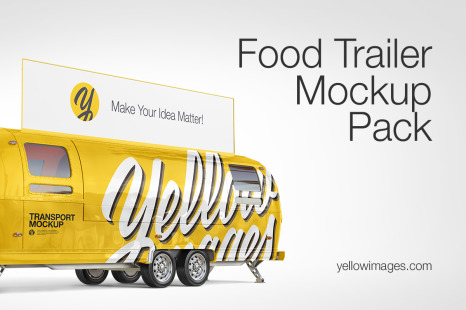 Download Food Truck Mockup Pack In Handpicked Sets Of Vehicles On Yellow Images Creative Store PSD Mockup Templates