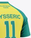 Men's V-Neck Soccer Jersey Mockup - Back Half Side View Of Soccer T-Shirt