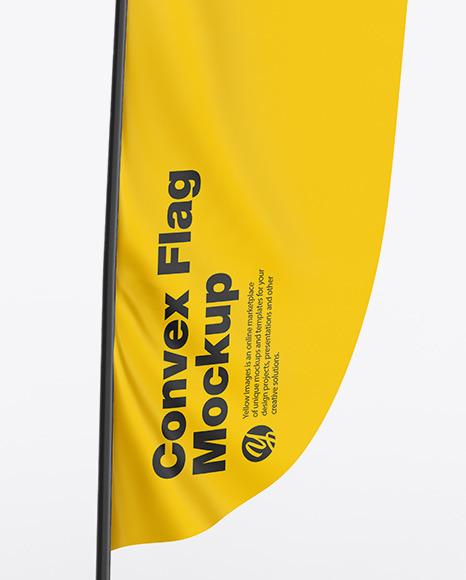 Glossy Convex Flag Mockup