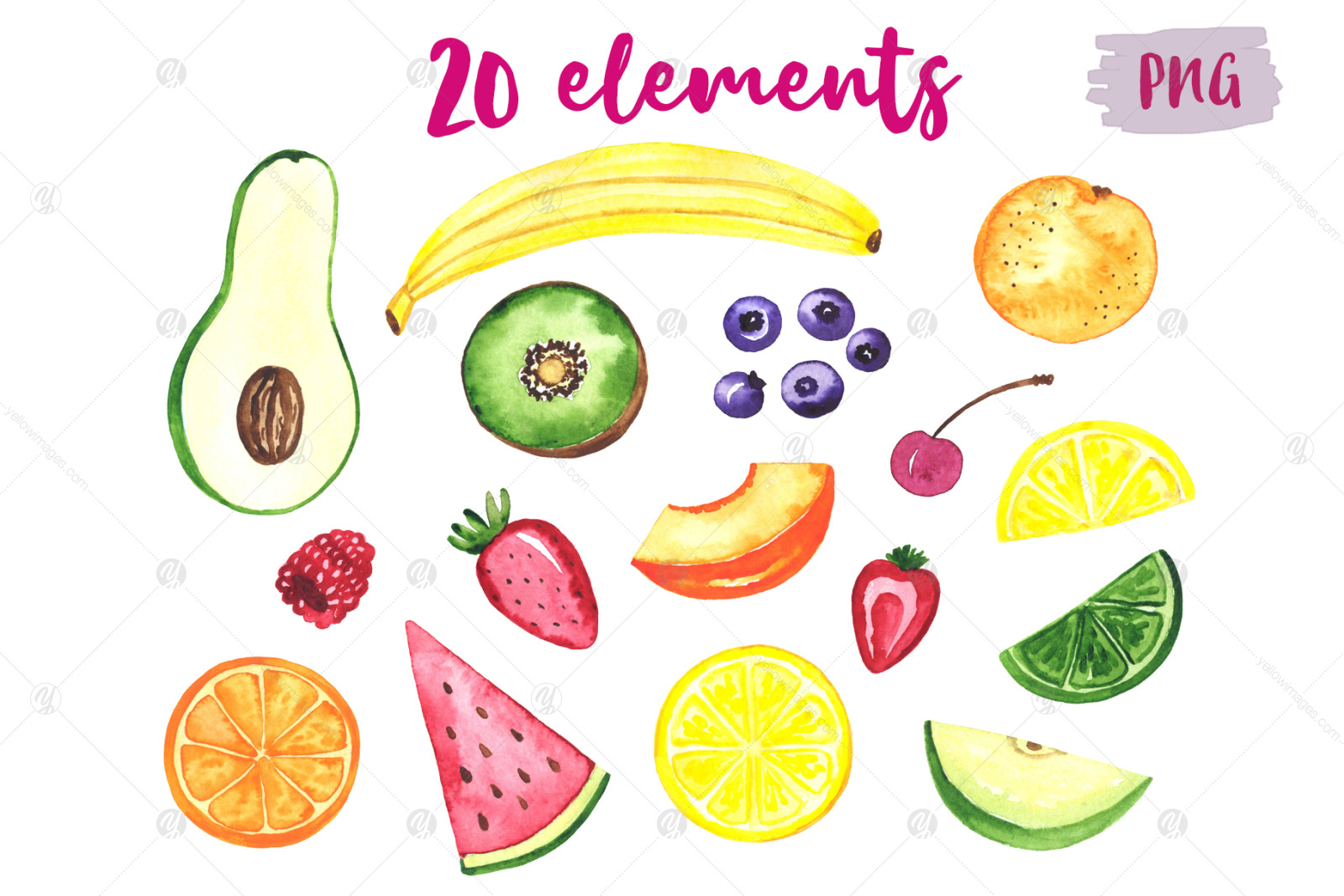 Fruits. Watercolor set. Clipart