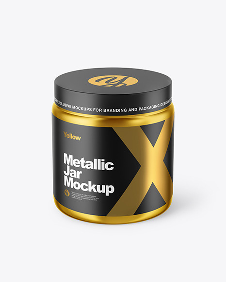 Metallized Plastic Jar Mockup