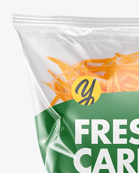 Plastic Bag With Shredded Carrot Mockup