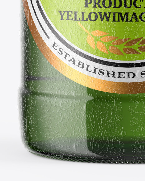 Green Glass Beer Bottle With Condensation Mockup