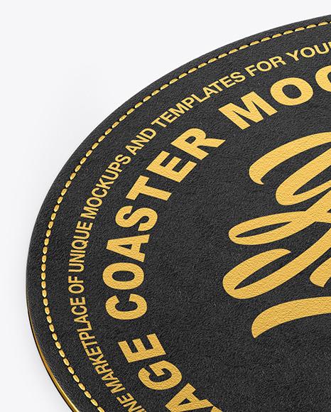 Leather Beverage Coaster Mockup