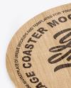 Wooden Beverage Coaster Mockup