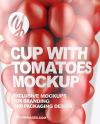 Plastic Cup with Tomatoes Mockup
