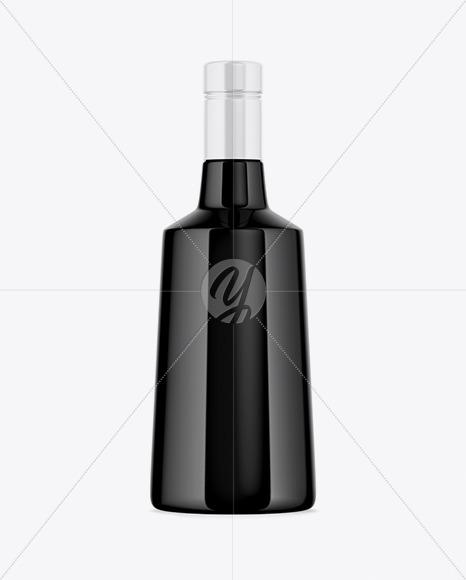 Black Glass Bottle Mockup