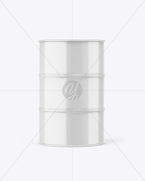 Glossy Metal Barrel Mockup