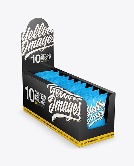 Glossy Display Box with Snacks Mockup
