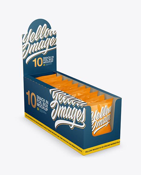 Matte Display Box with Snacks Mockup