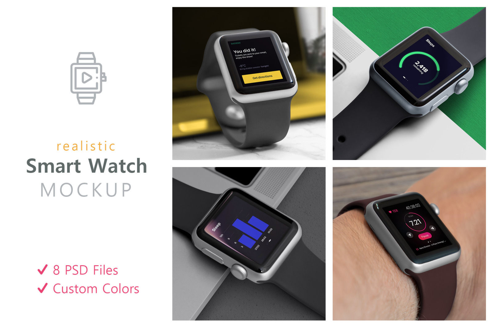 Download Realistic Smart Watch Mockups In Device Mockups On Yellow Images Creative Store PSD Mockup Templates