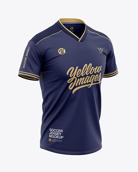 Men's V-Neck Soccer Jersey T-shirt Mockup - Front Half-Side View - Football Jersey T-shirt