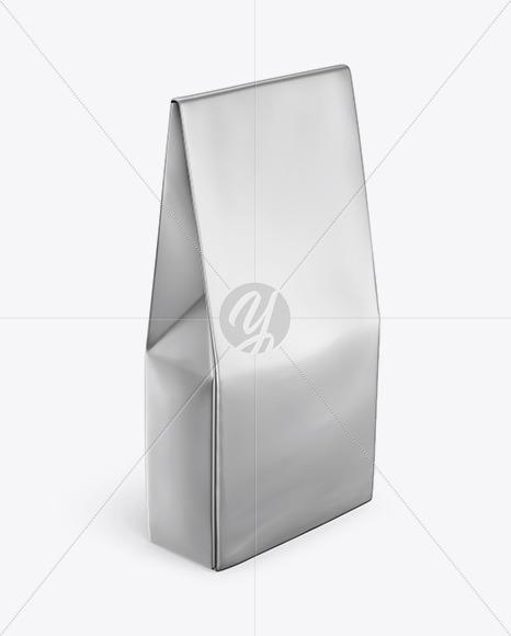 Glossy Metallic Bag Mockup - Half Side View  (High Angle Shot)
