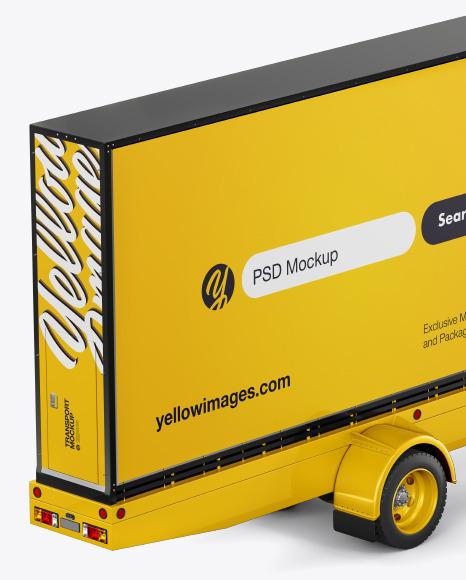 Mobile Billboard Mockup - Back Half Side View (High-Angle Shot)