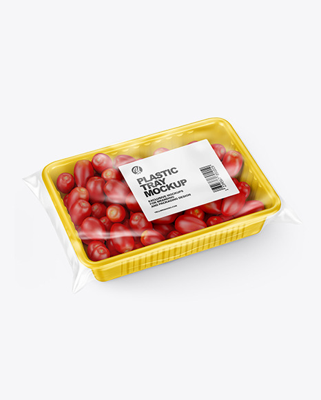 Plastic Tray with Tomatoes Mockup