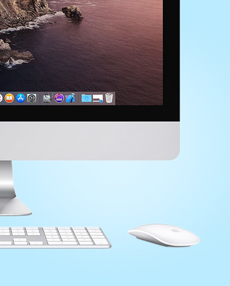 IMac with Keyboard and Mouse Mockup